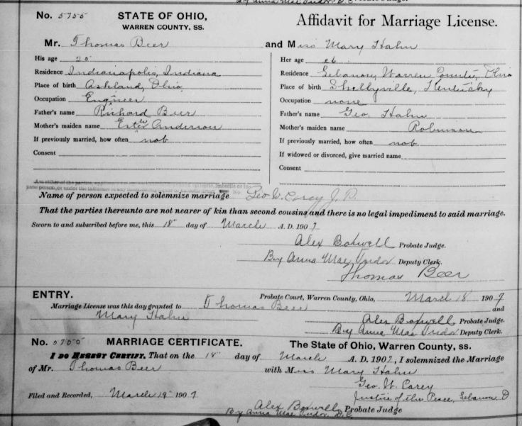 Documents: Thomas Beer and Mary Allen Hahn marriage license: Our ...