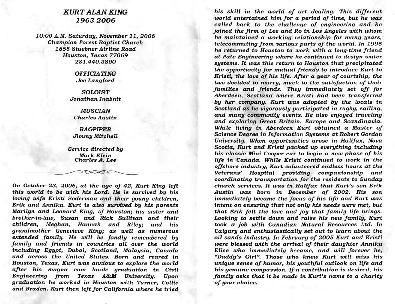 Obituaries Kurt King Obituary From Memorial Service Pamphlet Barritt Family History Pages